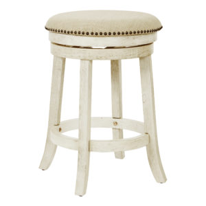 Round Backless Swivel Stool 2-Pack - Antique White - OSP Home Furnishings - Contemporary - Residential