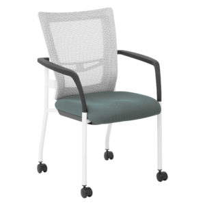 ProGrid Mesh Back Visitors Chair - White/Grey - Pro-Line II - Contemporary - Commercial