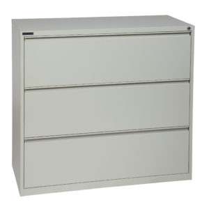 "42"" Wide 3 Drawer Lateral File With Core-Removeable Lock & Adjustable Glides - Light Grey - OSP Furniture - Commercial"