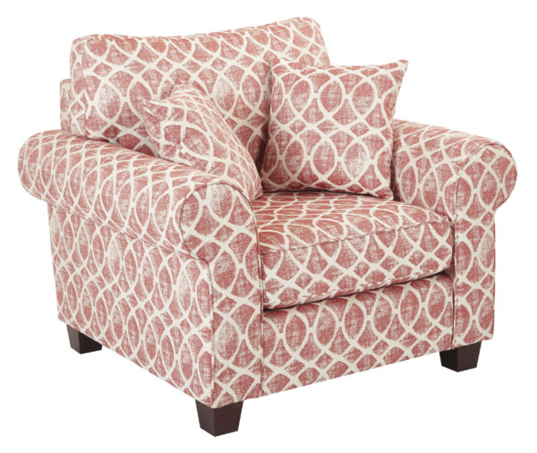 Rolled Arm Chair with Two Pillows - Mist Geo Brick - OSP Home Furnishings - Contemporary - Residential