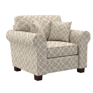 Rolled Arm Chair with Two Pillows - Mist Geo Sand - OSP Home Furnishings - Contemporary - Residential