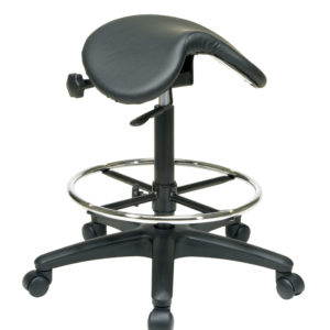 Backless Stool with Saddle Seat - Black - Work Smart - Contemporary - Commercial