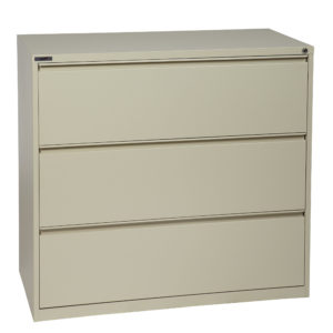 "42"" Wide 3 Drawer Lateral File With Core-Removeable Lock & Adjustable Glides - Putty - OSP Furniture - Transitional - Commercial"