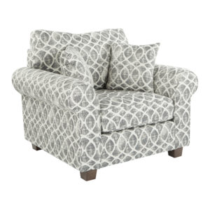 Rolled Arm Chair with Two Pillows - Mist Geo Navy - OSP Home Furnishings - Contemporary - Residential