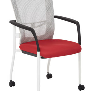 ProGrid Mesh Back Visitors Chair - White/ Red - Pro-Line II - Contemporary - Commercial