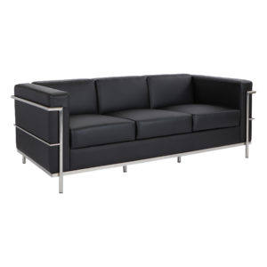 Leather Sofa - Black - OSP Furniture - Contemporary - Commercial