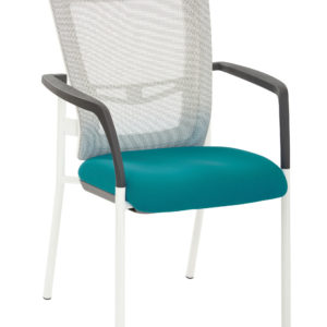 ProGrid Mesh Back Visitors Chair - White / Blue - Pro-Line II - Contemporary - Commercial