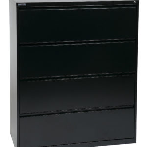 "42"" Wide 4 Drawer Lateral File With Core-Removeable Lock & Adjustable Glides - Black - OSP Furniture - Commercial"