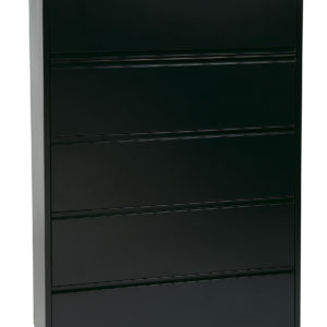 "42"" Wide 5 Drawer Lateral File With Core-Removeable Lock & Adjustable Glides - Black - OSP Furniture - Transitional - Commercial"