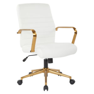 Baldwin Mid-Back Faux Leather Chair - White - OSP Home Furnishings - Contemporary - Commercial & Residential