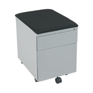 Mobile File with Padded Seat - Black Fabric, Grey Frame - OSP Furniture - Contemporary - Commercial