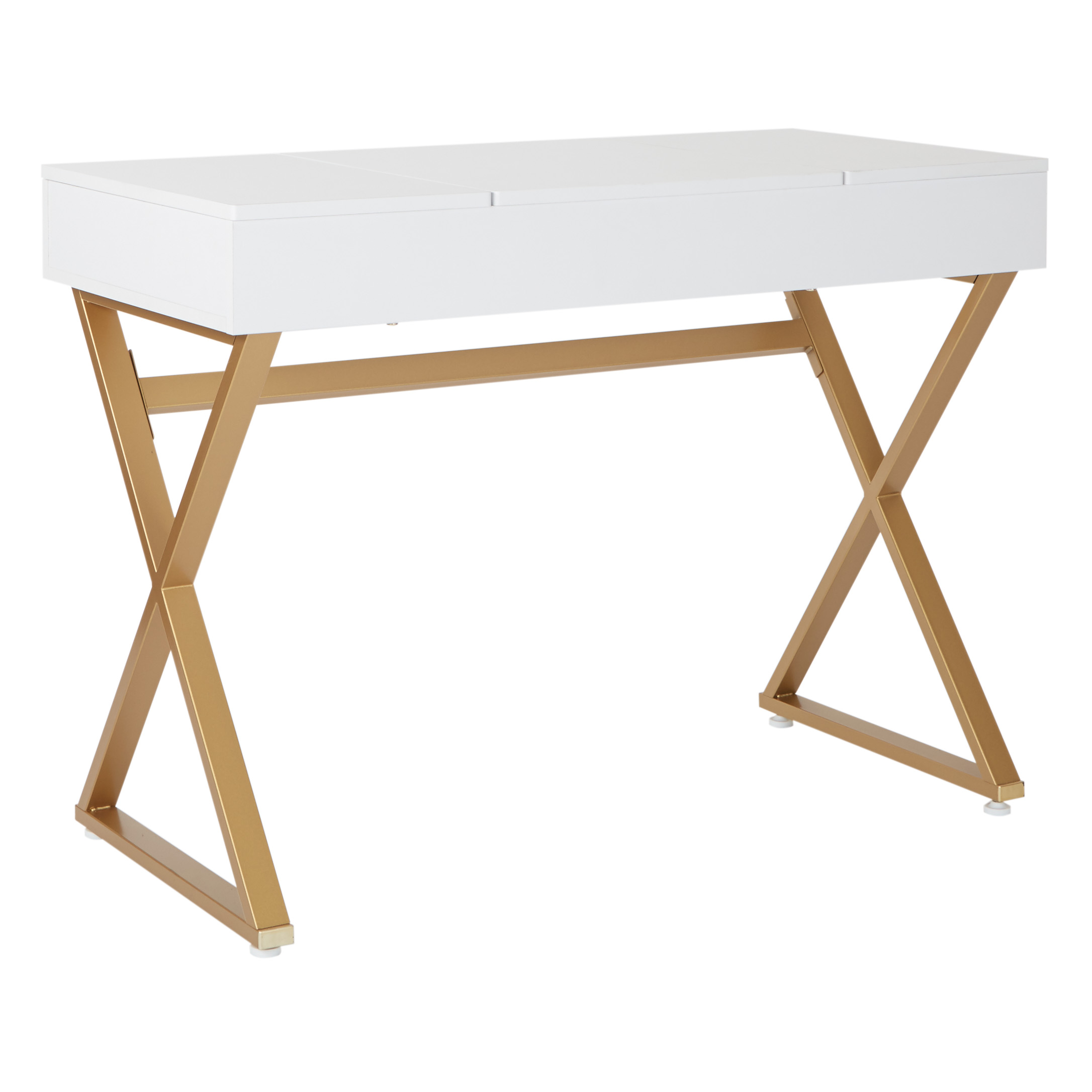Juliette Vanity Desk White Top Gold Legs Osp Home Furnishings Contemporary Residential