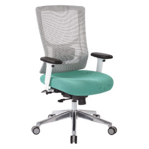 ProGrid White Mesh Mid Back Chair - White/Jade - Pro-Line II - Contemporary - Commercial