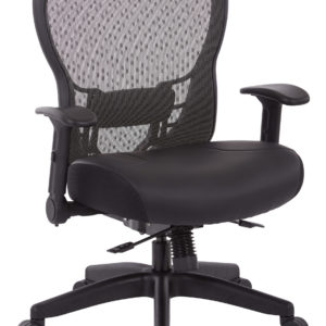 R2 SpaceGrid Back Chair with Memory Foam Bonded Leather Seat - Black - SPACE SEATING - Contemporary - Commercial