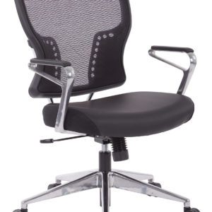 Air Grid Back and Padded Bonded Leather Seat Chair - Black - SPACE SEATING - Professional - Commercial