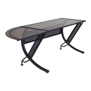 Horizon L-Shaped Computer Desk - Black frame, Bronze Glass - OSP Home Furnishings - Modern - Commercial & Residential