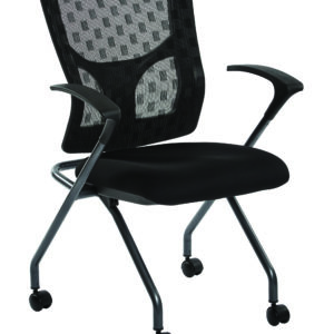 ProGrid Checkered Mesh Back Folding Chair - Titanium / Coal - Pro-Line II - Contemporary - Commercial