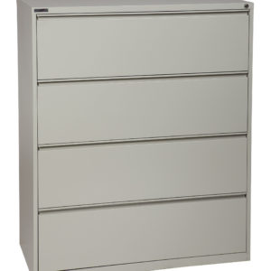 "42"" Wide 4 Drawer Lateral File With Core-Removeable Lock & Adjustable Glides - Light Grey - OSP Furniture - Commercial"