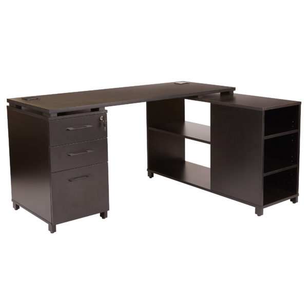 Prado L-Shape Desk - Black - OSP Home Furnishings - Mordern - Residential