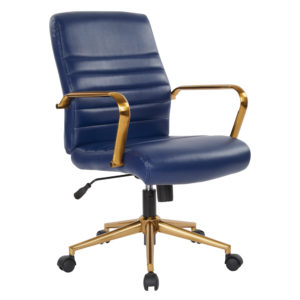 Baldwin Mid-Back Faux Leather Chair - Navy - OSP Home Furnishings - Contemporary - Commercial & Residential