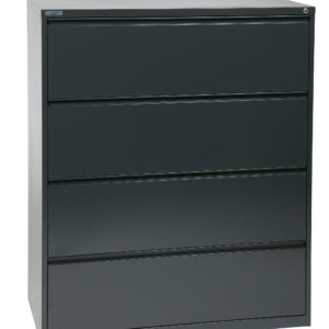 "42"" Wide 4 Drawer Lateral File With Core-Removeable Lock & Adjustable Glides - Charcoal - OSP Furniture - Commercial"