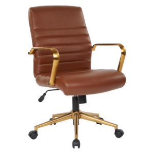 Baldwin Mid-Back Faux Leather Chair - Saddle - OSP Home Furnishings - Contemporary - Commercial & Residential