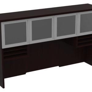 "Tuxedo 72"" Hutch with Glass/Aluminum Doors - Dark Roast - OSP Furniture - Commercial"