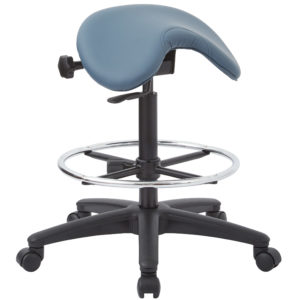 Backless Stool with Saddle Seat - Dillon Blue - Work Smart - Contemporary - Commercial